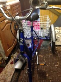 Adult trike Viking. Blue folding trike with shimano gears (6 speed). As new as only used once.