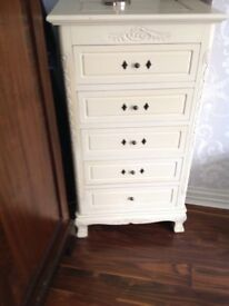 VINTAGE CREAM PAINTED SHABBY CHIC TALLBOY CHEST OF DRAWERS (2no.)