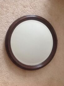 Antique dark oak circular mirror