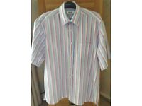 Men's Clothing Pastel Stripe Short Sleeve Shirt Size Medium NEW