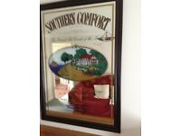 Southern Comfort wall mirror, dark wood frame, vgc