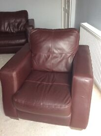 Leather 3 piece suite and poufe
