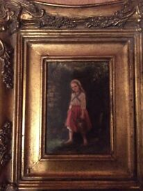 Charming oil painting of girl by well