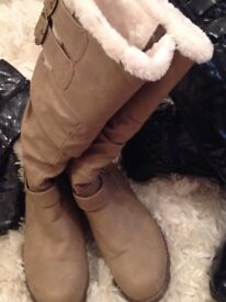 Taupe Fur lined boots in excellent condition size7 collection only