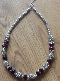Purple beaded becklace