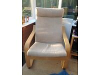 Ikea chair and footstool beige covers very good codition