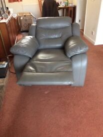 Leather 3 piece suite includes 1 electric recliner armchair