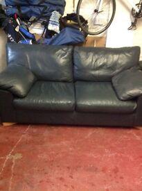 Leather sofa dark blue