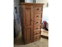 Solid pine Tall boy with small hanging area two rails, six draws