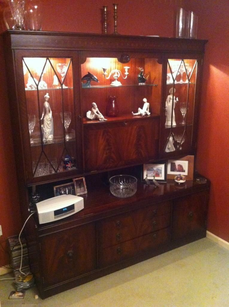 Free Bridgecraft Furniture Dark Wood Flame Mahogany Wall Unit Display Cabinet