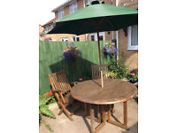 Oak Drop Leaf Garden Table and 2 Chairs + Umbrella
