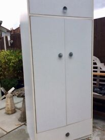 Wardrobe, white with storage approx 6 ft tall
