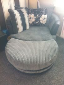3 seater sofa, x2 armchairs, cuddle swivel chair and poofee