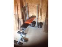 Cast iron weight set and bench complete with dumbells