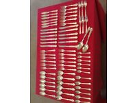 Silver plated cutlery x 68 pieces; ideal for celebration dinners.