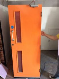 Internal fire door Approx. 1990mm x 760mm. Comes with fixtures seen in photo. Good condition