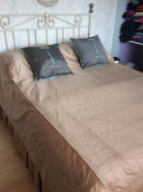 Beige silk bed cover and matching valance