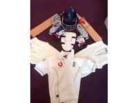 Cricket kit for pre-teen starter including bats, helmet, jumpers, shoes and gloves