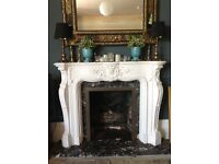 White plaster surround with marble insert and hearth