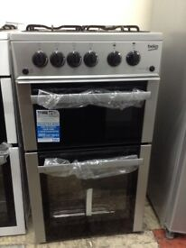 Beko 50cm gas cooker. Double oven and grill. RRP £299. New/graded 12 month Gtee