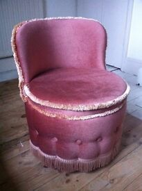 Vintage Sherbone Blush Pink Small Boudoir Bedroom Chair in Excellent Condition / Can Deliver