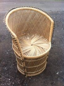 Round wicker tub chair of an early 1980s era