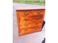 Antique oak two over three chest of drawers circa 1890