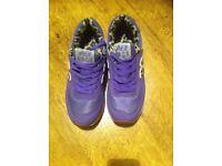 Nike New Balance 574 Purple with Leopard print interior Trainers.