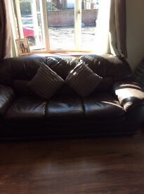 3 & 2 seater leather sofa for sale