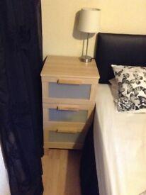 Bedside cabinet 3 drawers light wood