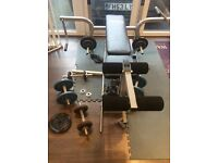 Weight bench and metal weights and bars home gym