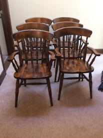 6 Dining Room Carver Chairs Colour - Dark Oak