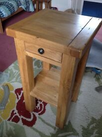 Solid Oak Tall Lamp Table