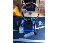 Elite real tour indoor cycle trainer with shimano training wheel and tyre + real tour DVDs