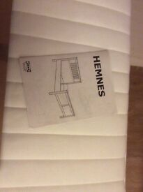 Ikea hemnes single 3 feet bed and mattress with slats. Hardly used. White. Fantastic condition
