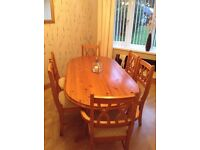 Dining room pine table and 6 chairs