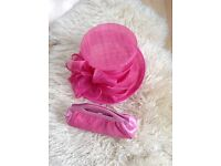 Cerise pink formal ladies hat and matching clutch bag