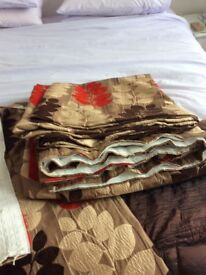 Curtains red/ taupe /brown custom made