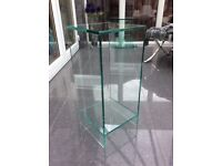 Glass lamp/side table