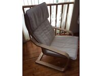 Armchair with birch effect and beige cushion