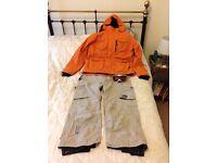 Male large ski jacket, salapets and ski googles