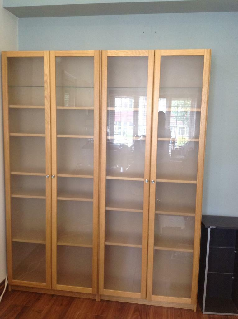 2 x ikea billy oak veneer glass door cabinets shelves in - Ikea glass cabinets ...
