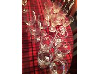 Lot of over 55 glasses and 6 coasters