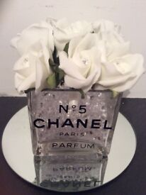 Handmade inspired Chanel glass rose bud vase