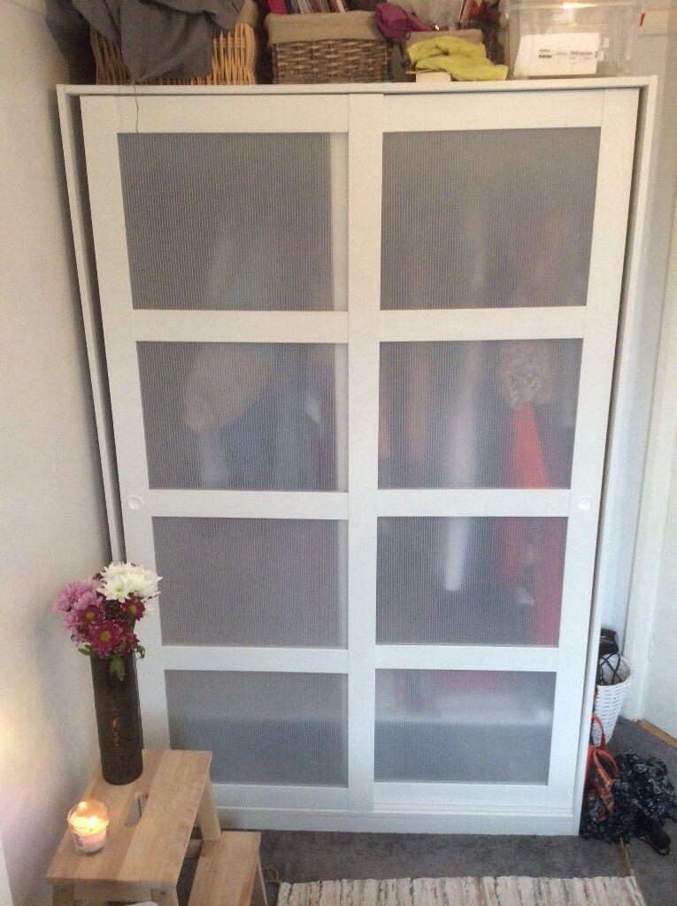 Ikea White Wardrobe Kvikne Sliding Doors Storage In