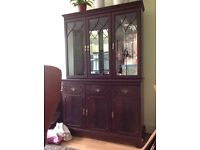 Maghony glass cabinet + side cabinet
