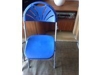 Blue fan folding chair