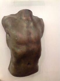 Torso- male bronze wall hanging 60x40cm