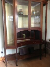 Arts and Crafts display cabinet with wood inlay