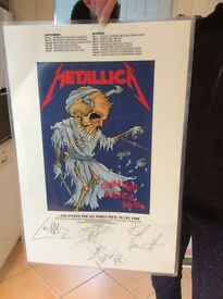 Signed laminated Metallica tour poster
